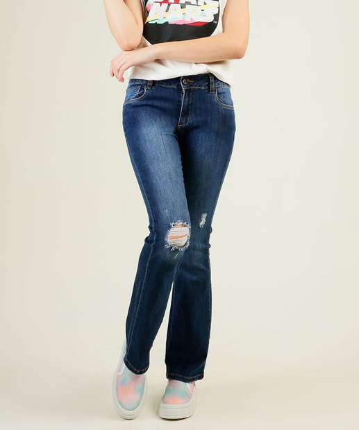 Image_Calça Juvenil Jeans Destroyed Flare Razon Tam 12 a 16
