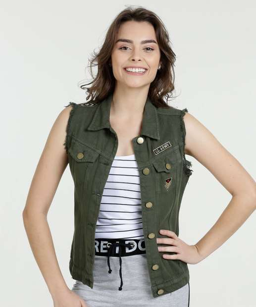 Image_Colete Feminino Jeans Patches Sawary