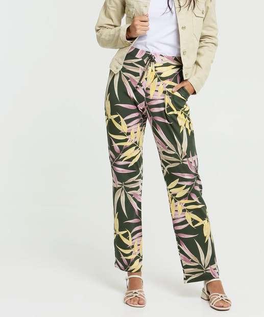 Image_Calça Feminina Pantalona Estampa Tropical