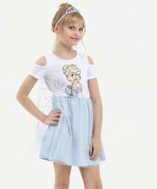 Image_Vestido Infantil Open Shoulder Estampa Frozen Brinde Disney
