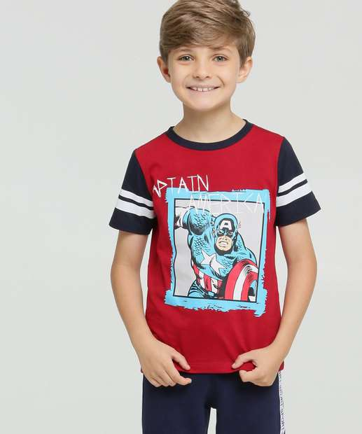 Image_Camiseta Infantil Estampa Capitão América Manga Curta Marvel