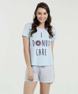 Pijama Feminino Estampa Frontal Manga Curta Marisa