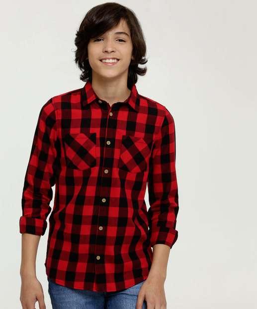 Image_Camisa Juvenil Estampa Xadrez Manga Longa MR