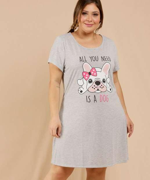 Image_Camisola Plus Size Feminina Cachorro Manga Curta Marisa