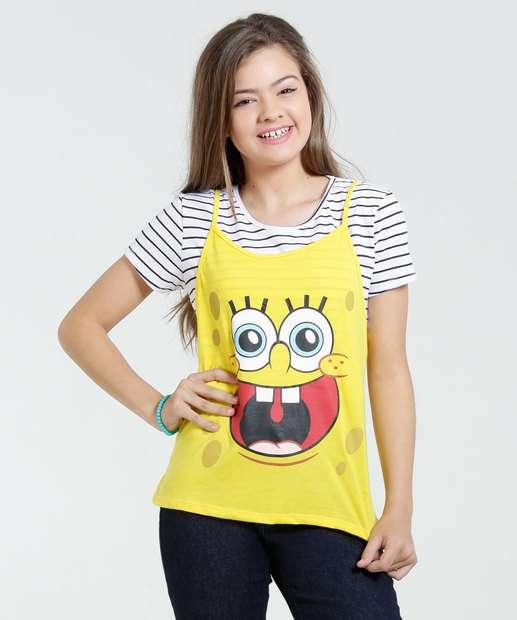 Image_Blusa Juvenil Listrada Bob Esponja Nickelodeon
