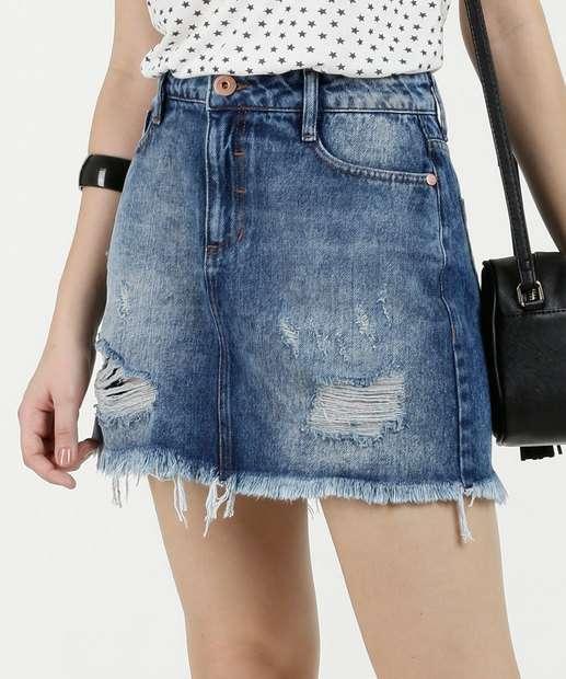 Image_Saia Feminina Jeans Destroyed Puídos Marisa