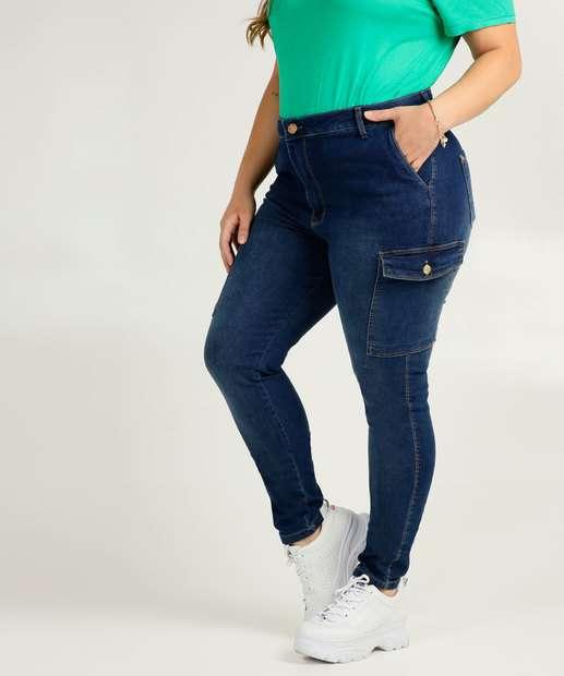 Image_Calça Plus Size Feminina Skinny Cargo Uber Jeans