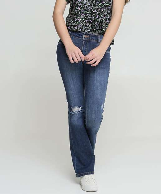 Image_Calça Juvenil Flare Jeans Destroyed Razon