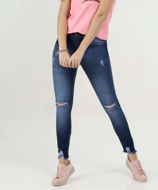 Image_Calça Feminina Jeans Destroyed Barra Desfiada Skinny Marisa