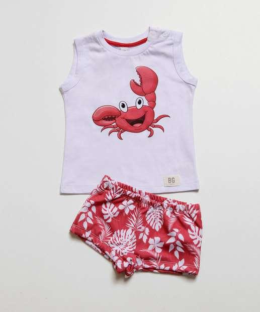 Image_Conjunto Infantil Moda Praia Estampa Caranguejo Proteção UV