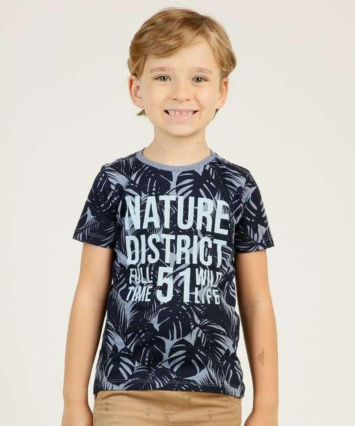 Image_Camiseta Infantil Manga Curta Estampa Folhas MR Tam 4 a 10