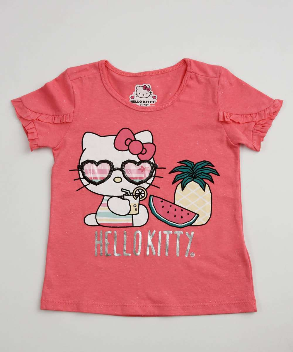 Blusa Infantil Manga Curta Hello Kitty