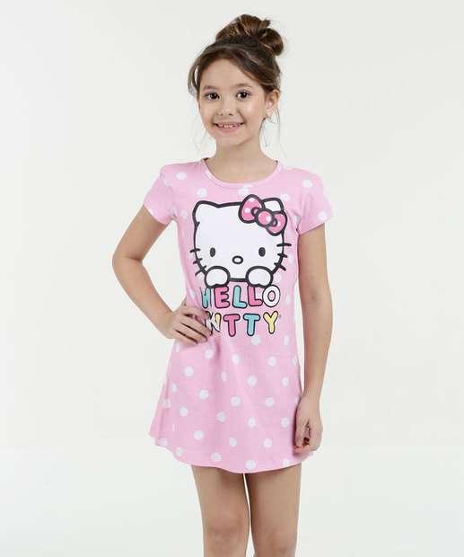 Image_Camisola Infantil Estampa Hello Kitty Manga Curta Sanrio