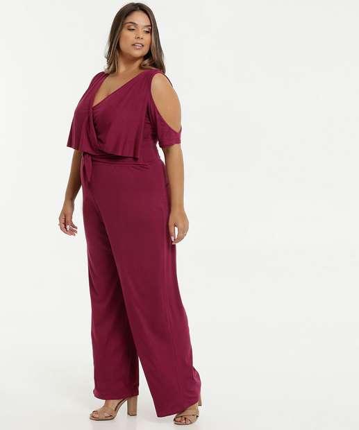 Image_Macacão Feminino Pantalona Open Shoulder Plus Size