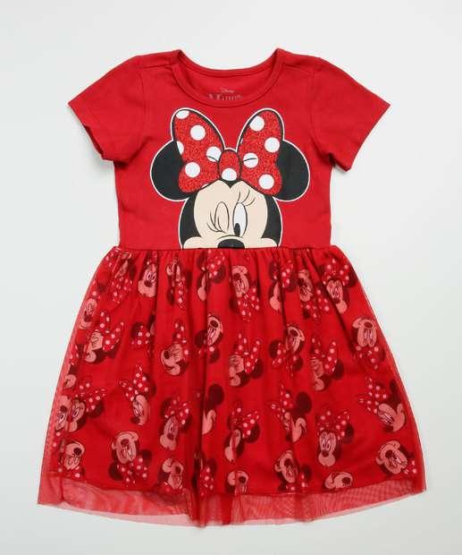 Image_Vestido Infantil Manga Curta Minnie Disney Tam 1 a 4