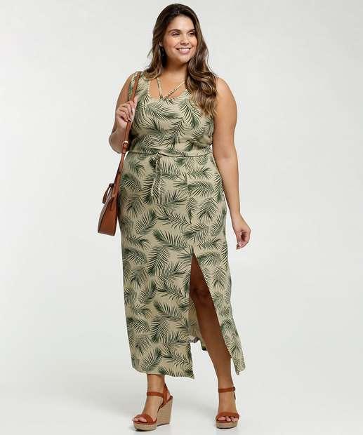 Image_Vestido Feminino Longo Estampa Folhas Fenda Plus Size
