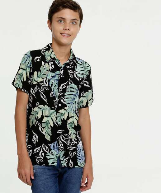 Image_Camisa Juvenil Estampa Folhas Manga Curta MR