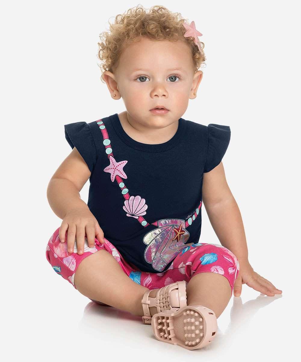 Conjunto Infantil Bebê Manga Curta Estampada Tam 0 a 10 Meses