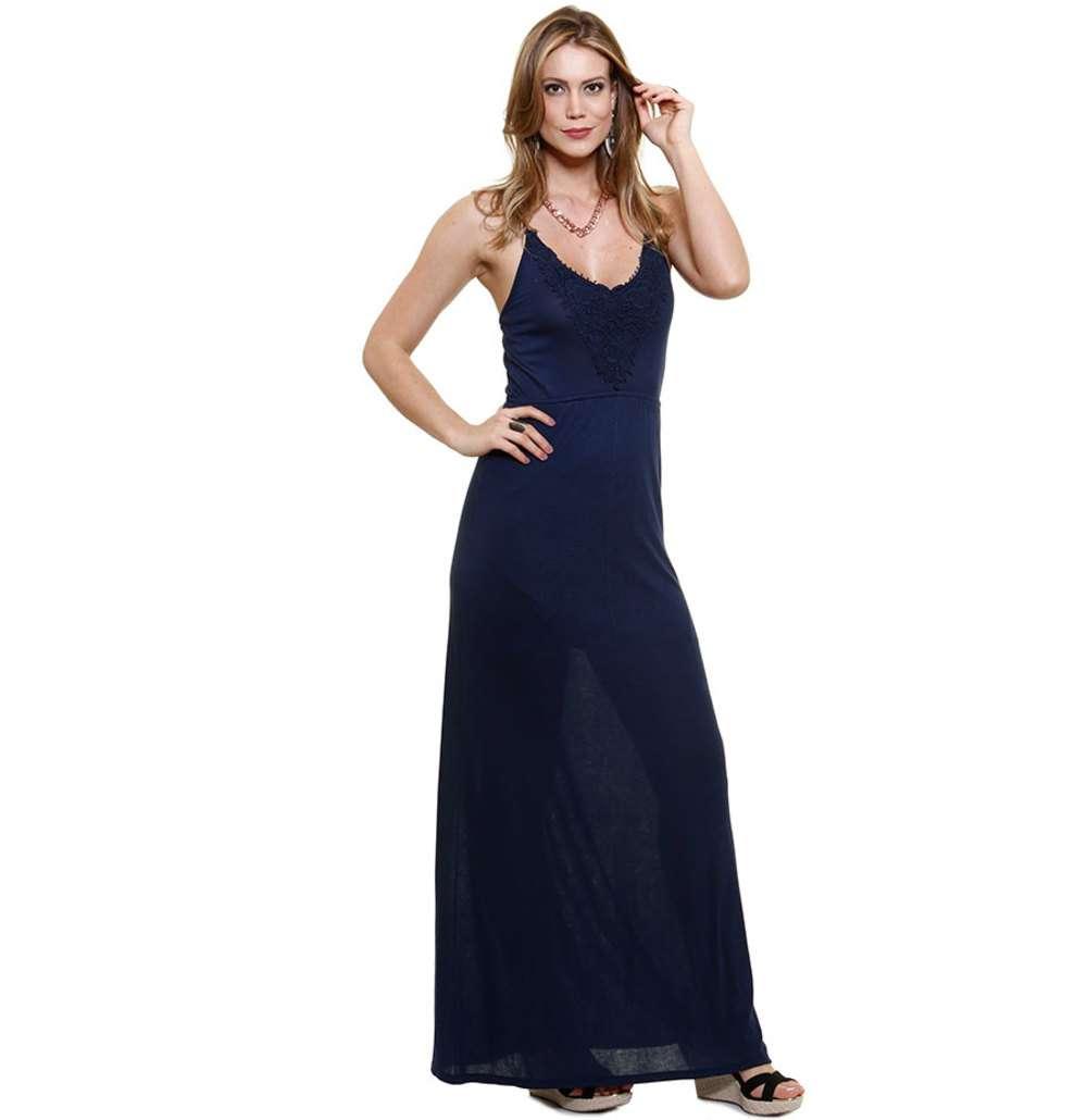 a1a87b3cc0 Vestido Feminino Longo com Renda Guipir Marisa