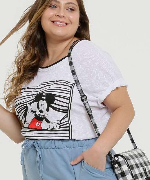 Image_Blusa Plus Size Feminina Mickey Manga Curta Disney