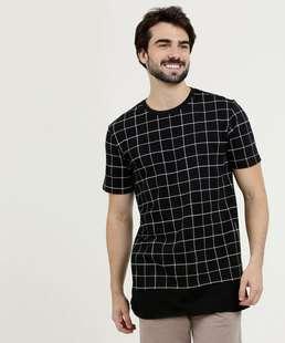 Camiseta Masculina Estampa Quadriculada Manga Curta Marisa