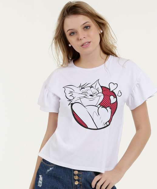Image_Blusa Feminina Estampa Tom E Jerry  Manga Curta Warner