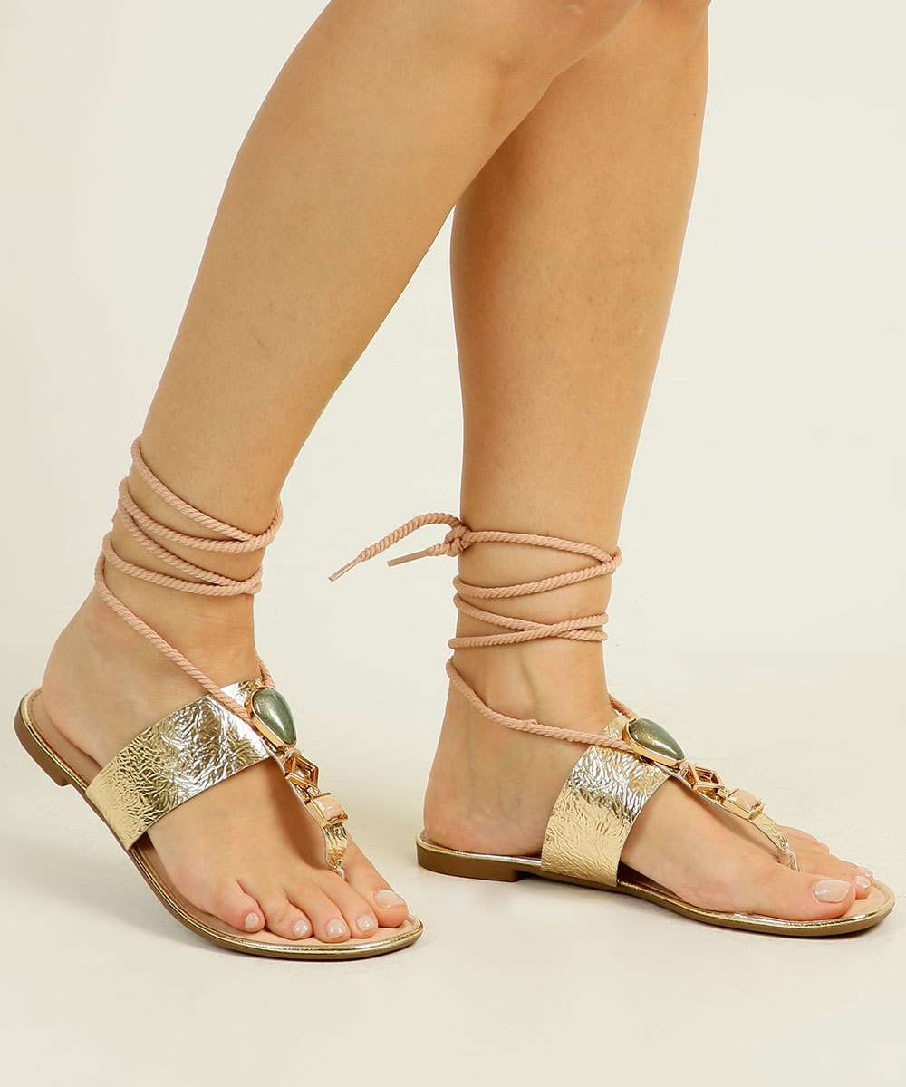 Sandália Rasteira Feminina Textura Metalizado Dakota