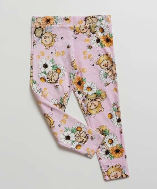 Image_Calça Infantil Bebê Legging Urso Floral Tam 1 a 3
