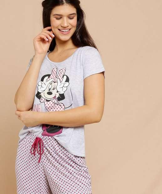 Image_Pijama Feminino Minnie Bolinhas Manga Curta Disney