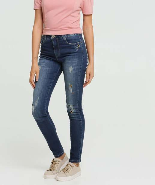 Image_Calça Jeans Puídos Skinny Feminina Ilhós Sawary