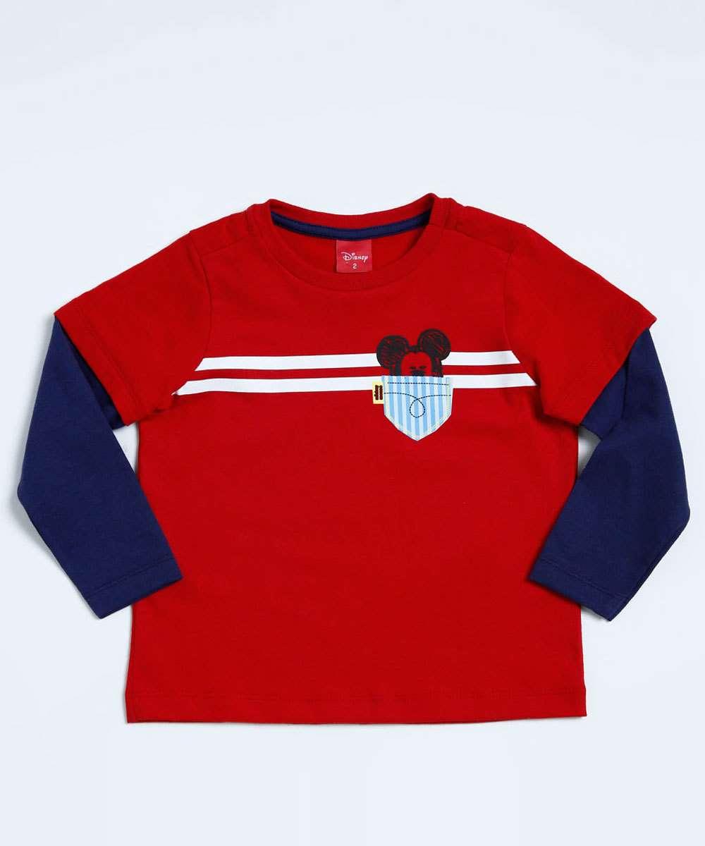 4b075ee851a67 Camiseta Infantil Mickey Manga Longa Disney