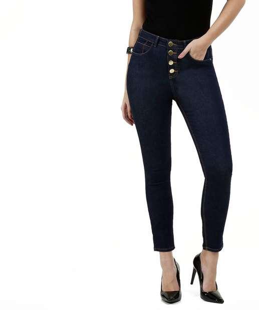 Image_Calça Jeans Stretch Cigarrete Feminina Botões Marisa