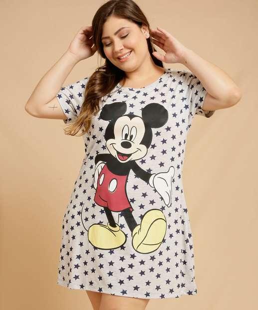 Image_Camisola Plus Size Feminina Mickey Manga Curta Disney