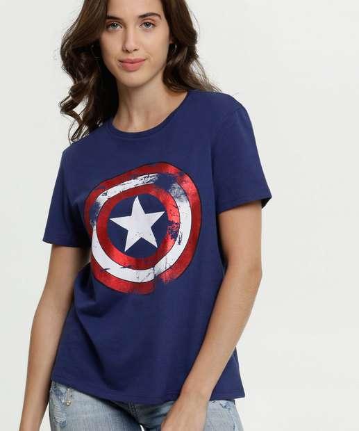 Image_Blusa Feminina Estampa Capitão América Metalizada Marvel