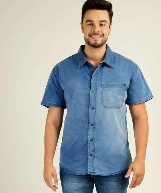 Image_Camisa Masculina Jeans Plus Size Manga Curta Razon