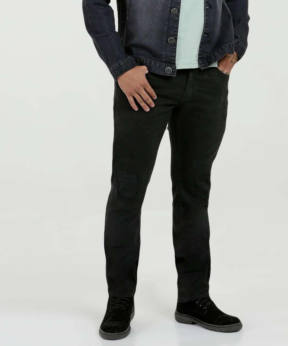 Calça Masculina Sarja Puídos Skinny Stretch Five Jeans