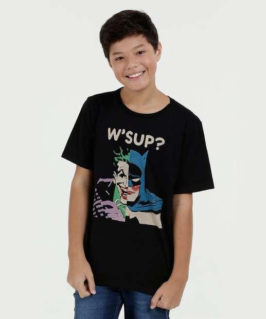 Image_Camiseta juvenil Coringa Bataman Manga Curta Liga da Justiça