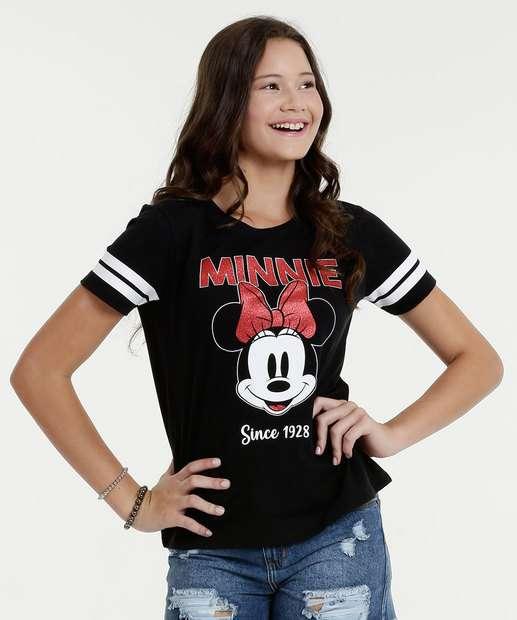 Image_Blusa Juvenil Estampa Minnie Brilho Manga Curta Disney