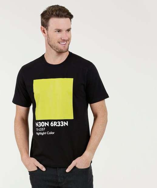 Image_Camiseta Masculina Estampa Frontal Neon MR