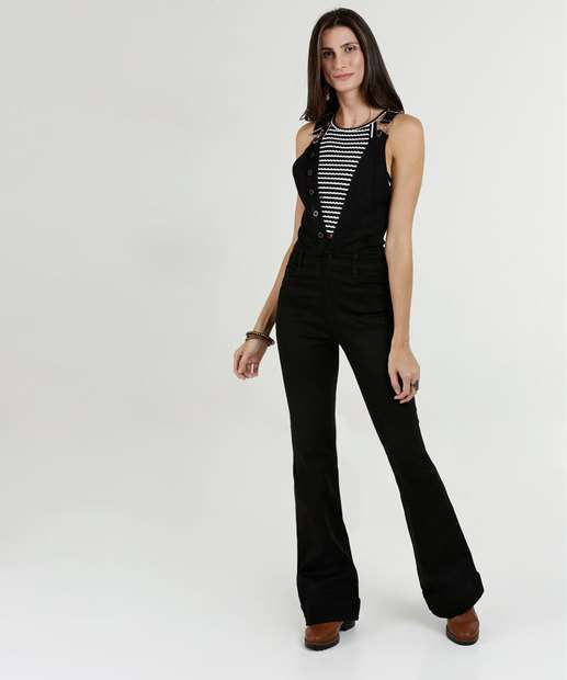 6a2801aea Macacão Feminino Jeans Flare Sawary