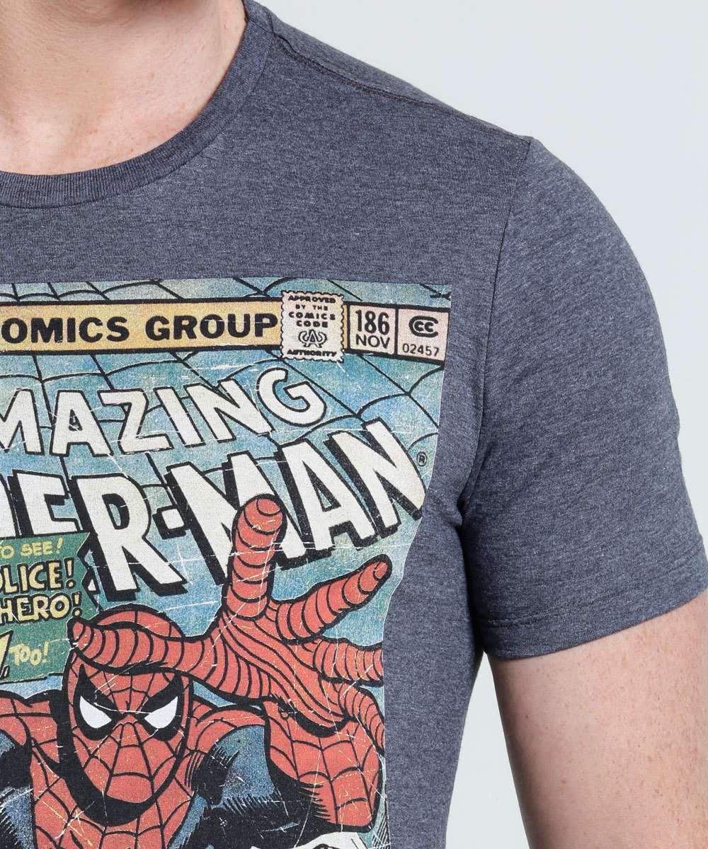 7e4c7527f Camiseta Masculina Estampa Homem Aranha Marvel