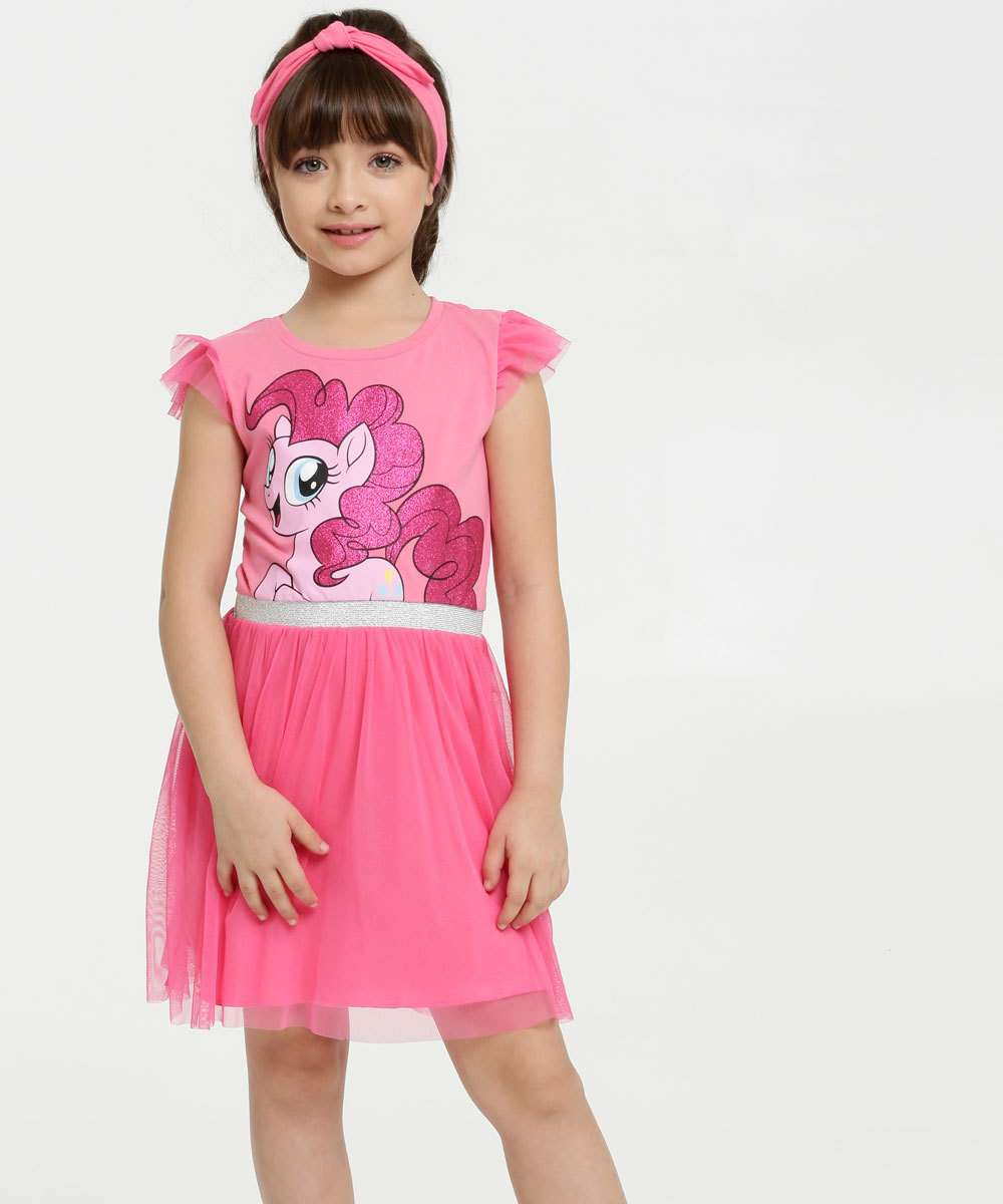 Vestido Infantil Estampa My Little Pony Manga Curta Hasbro