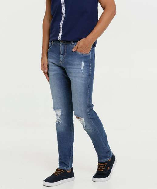 Image_Calça Masculina Jeans Slim Destroyed Razon