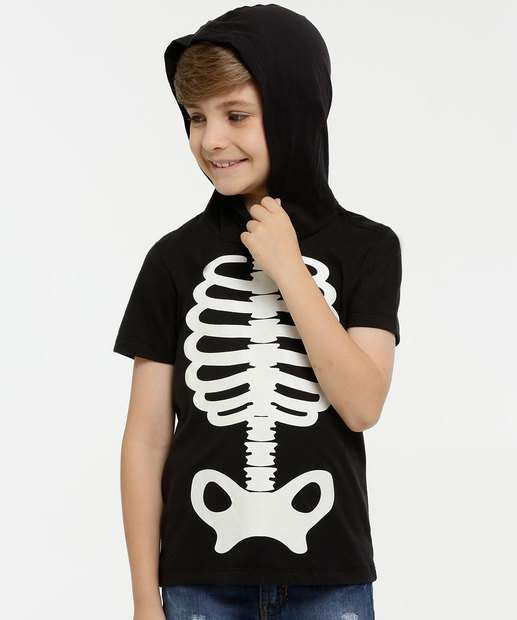 Image_Camiseta Infantil Esqueleto Brilha no Escuro Manga Curta MR