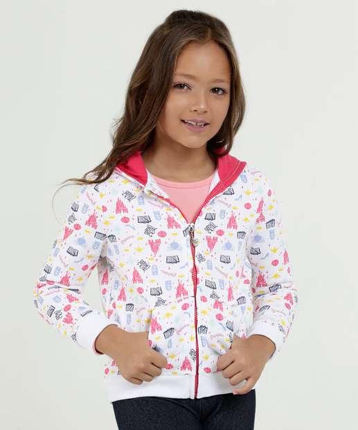 Image_Casaco Infantil Moletom Estampa Princesas Capuz Disney