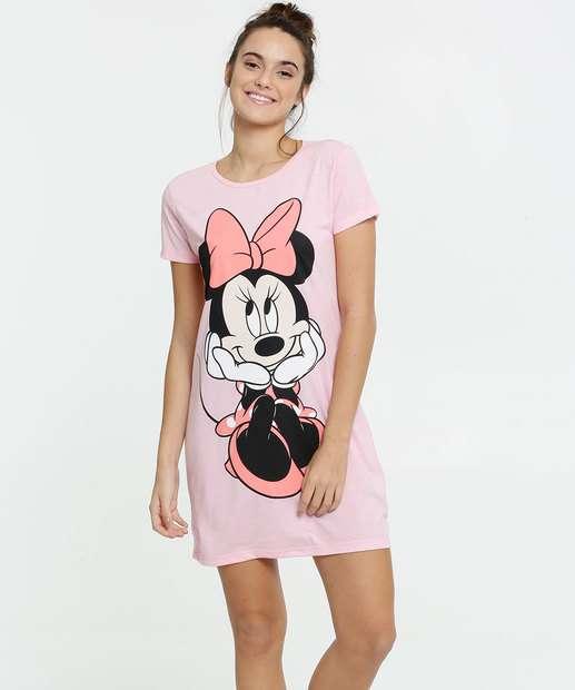 Image_ Camisola Feminina Estampa Minnie Manga Curta Disney