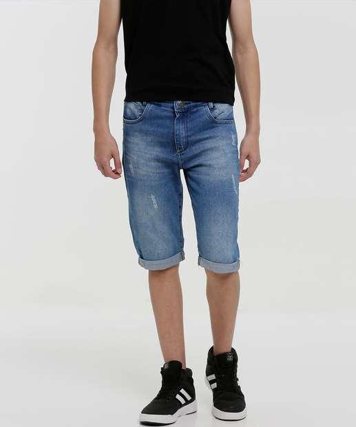 Image_Bermuda Juvenil Jeans Puídos Tam 10 a 16