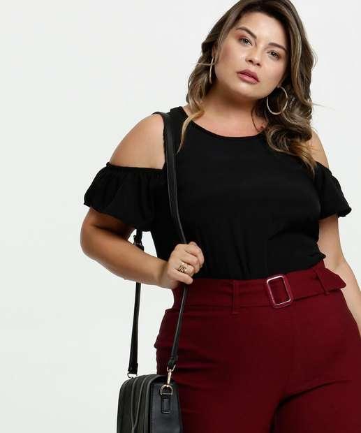 Image_Blusa Feminina Open Shoulder Chiffon Plus Size