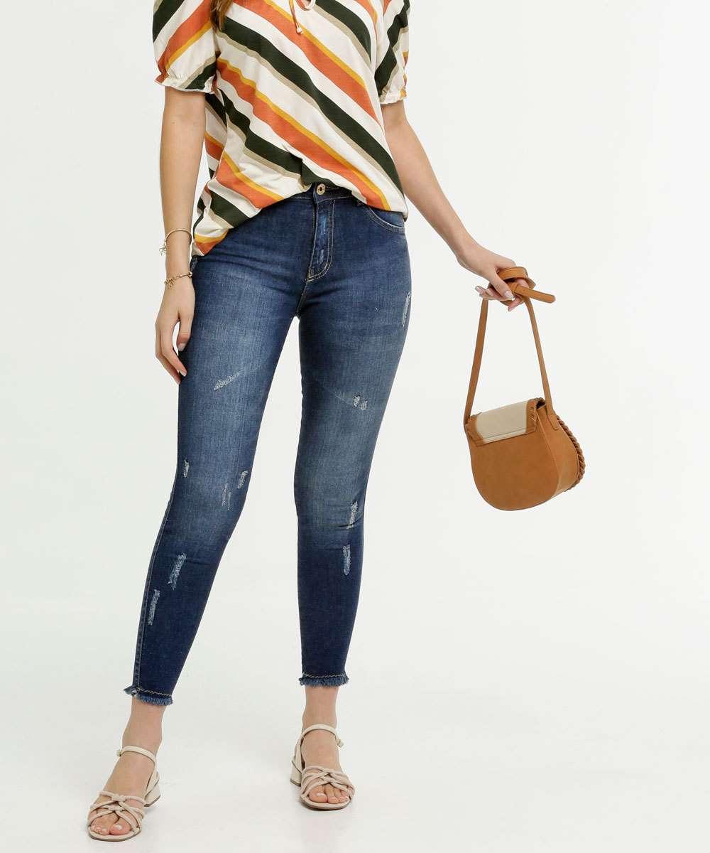 Calça Feminina Jeans Puídos Cigarrete Biotipo