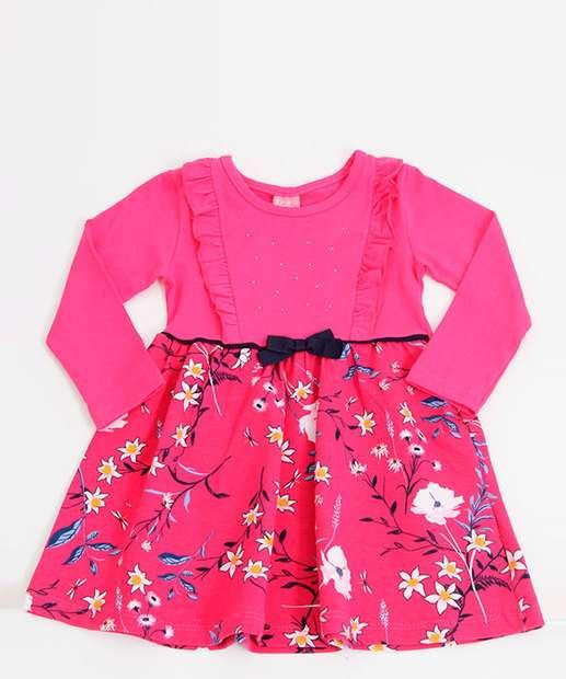 Image_Vestido Infantil Estampa Floral Manga Longa